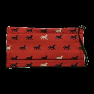 Masque COVID-19 rouge avec motifs de chevaux